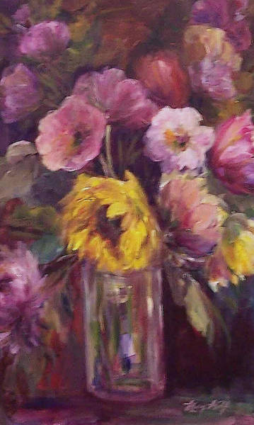 Painting - Abundance- Floral Painting by Mary Wolf