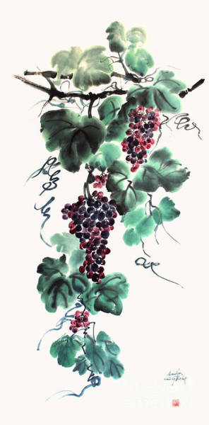 Abundant Grapes Art Print by Nadja Van Ghelue