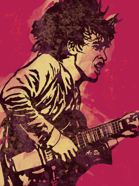 Hard Rock Mixed Media - Ac/dc Pop Stylised Art Sketch Poster by Kim Wang