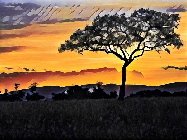 Kenya Mixed Media - Acacia At Sunset by Lori Allen