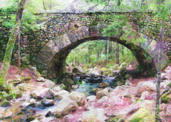 Photograph - Acadia National Park - Cobblestone Bridge Abstract by Anita Pollak