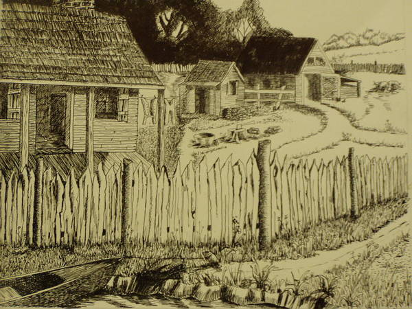 Homestead Drawing - Acadian Homestead by John  Labbe