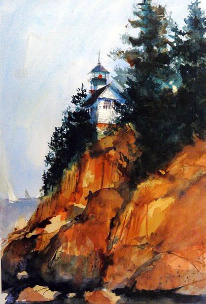 Painting - Acadian Lighthouse by Charles Rowland