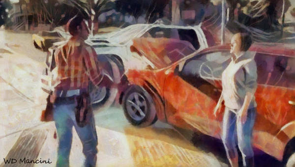 Car Accident Painting - Accidents Happen by WD Mancini