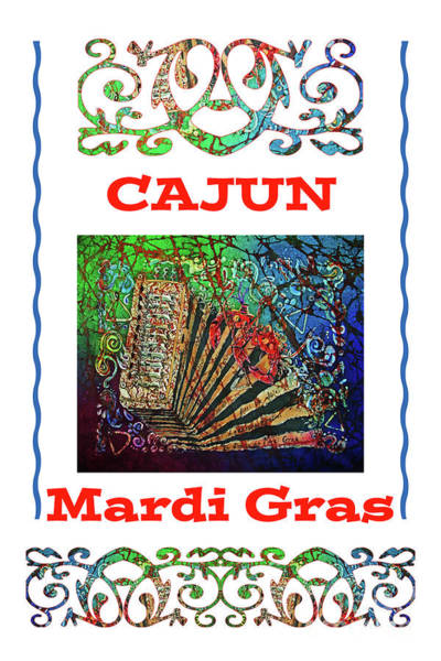 Lafayette Mixed Media - Accordian Cajun Mardi Gras 1 by Sue Duda