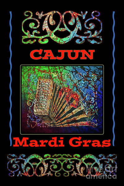 Lafayette Mixed Media - Accordian Cajun Mardi Gras 2 by Sue Duda
