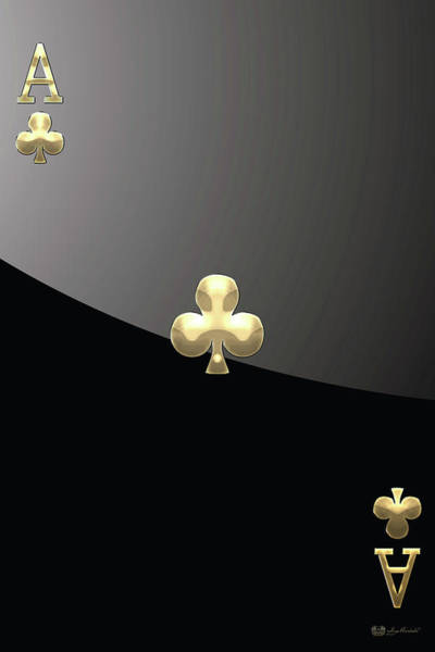 Digital Art - Ace Of Clubs In Gold On Black   by Serge Averbukh