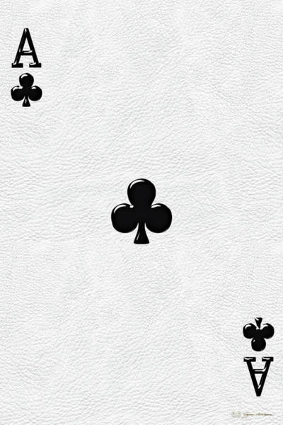 Digital Art - Ace Of Clubs Over White Leather   by Serge Averbukh