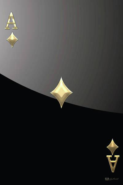 Digital Art - Ace Of Diamonds In Gold On Black  by Serge Averbukh