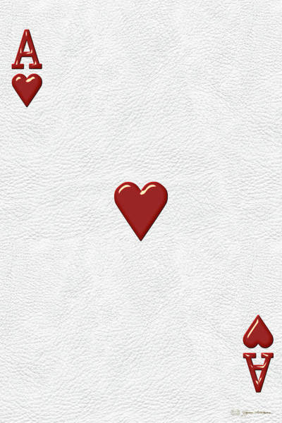 Digital Art - Ace Of Hearts Over White Leather  by Serge Averbukh