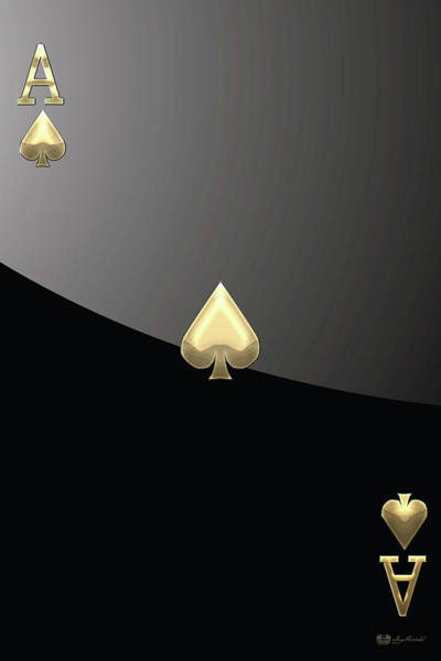 Ace Of Spades In Gold On Black   Art Print