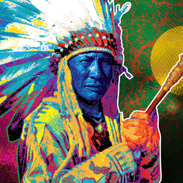 Vector Illustration Painting - Aceca Indian Chief by Gary Grayson