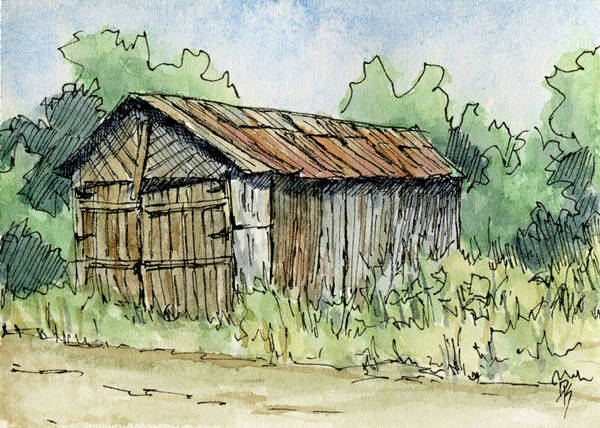 Painting - Aceo No 1 Abandoned Shed by David King
