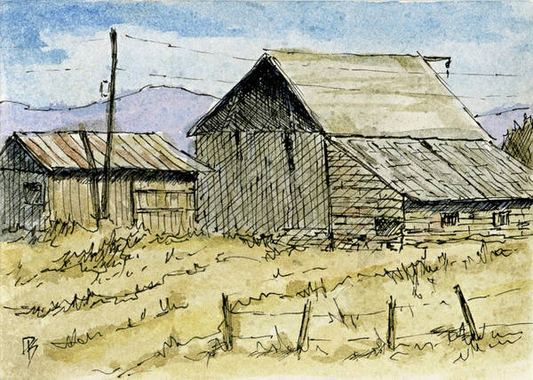 Painting - Aceo No 3 Two Barns by David King