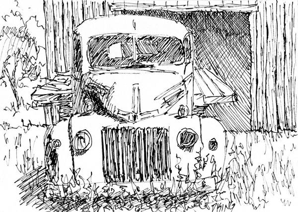 Old Truck Drawing - Aceo No 4 Old Ford Truck And Barn Pen by David King