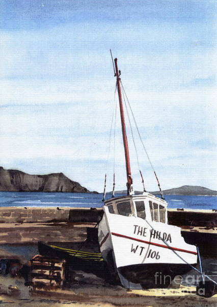 Painting - Achill.. The Hilda In Purteen Harbor by Val Byrne