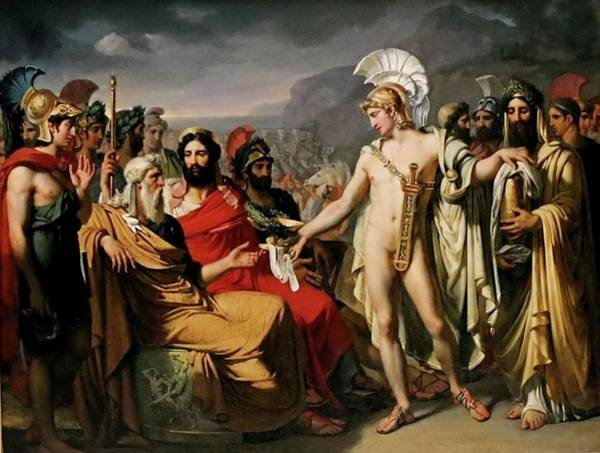 Painting - Achilles Pays To Nestor The Price Of Wisdom by Joseph Desire Court