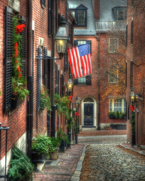 Photograph - Acorn Street Christmas Card 2 by Joann Vitali
