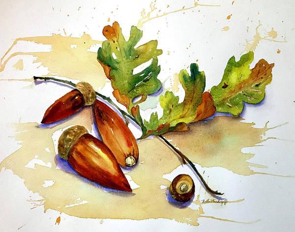 Painting - Acorns And Leaves by Hilda Vandergriff