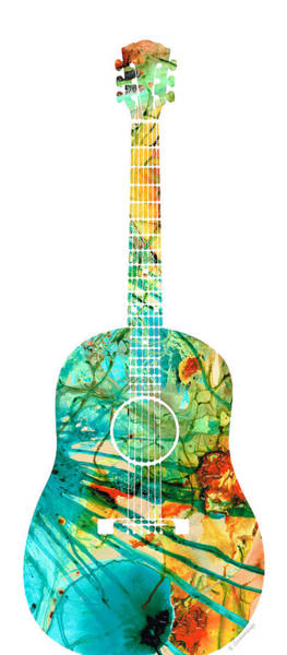 Wall Art - Painting - Acoustic Guitar 2 - Colorful Abstract Musical Instrument by Sharon Cummings