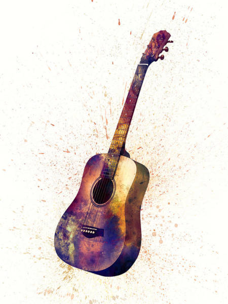 Acoustic Wall Art - Digital Art - Acoustic Guitar Abstract Watercolor by Michael Tompsett