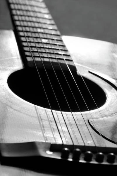 Photograph - Acoustic Guitar In Black And White by Angela Murdock