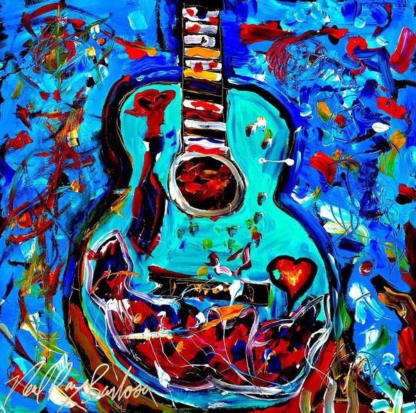 Painting - Acoustic Love Guitar by Neal Barbosa