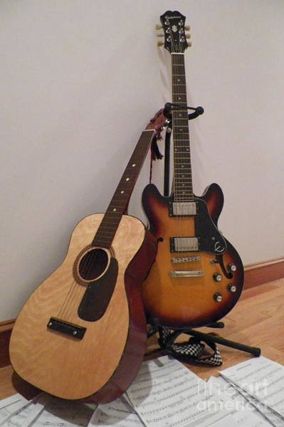 Fret Board Photograph - Acoustic Or Electric? by Gina Sullivan