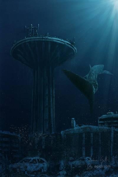 Ocean Scape Digital Art - Acquedotto Con Squalo Balena by Andrea Gatti