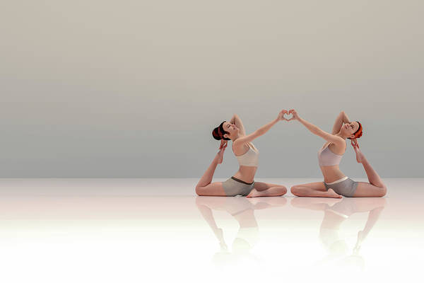 Wall Art - Digital Art - Acro Yoga Two by Betsy Knapp