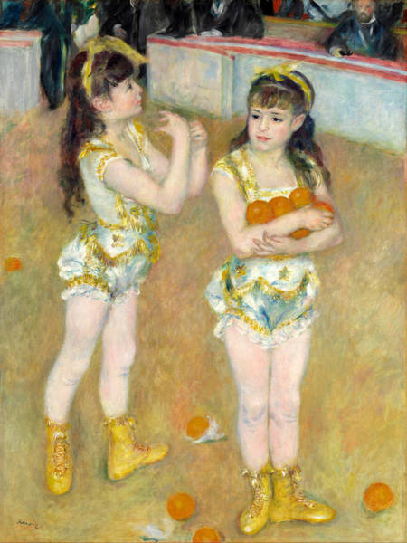 Trapeze Painting - Acrobats At The Cirque Fernando, Francisca And Angelina Wartenberg by Pierre-Auguste Renoir