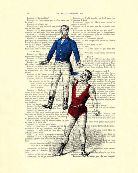 Joke Wall Art - Digital Art - Circus Acrobats In Red And Blue Dictionary Art Print by Madame Memento