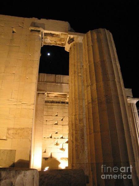 Erechtheion Photograph - Acropolis Captured Moon 2 by Jelena Ignjatovic