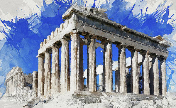 Peloponnese Painting - Acropolis Of Athens - 01 by Andrea Mazzocchetti
