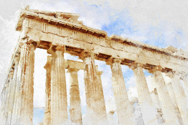 Peloponnese Painting - Acropolis Of Athens - 02 by Andrea Mazzocchetti