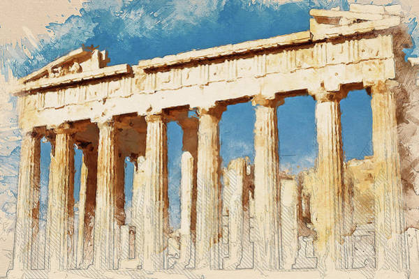Peloponnese Painting - Acropolis Of Athens - 03 by Andrea Mazzocchetti