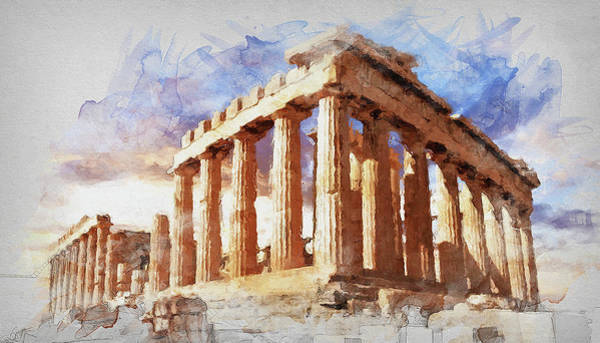 Peloponnese Painting - Acropolis Of Athens - 04 by Andrea Mazzocchetti