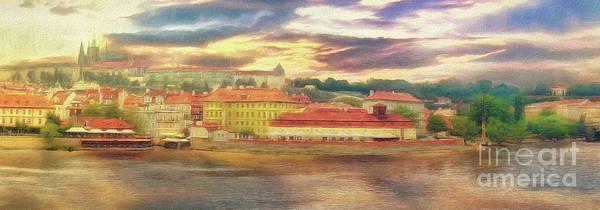 Photograph - Across The River - Riverside Panorama Prague by Leigh Kemp