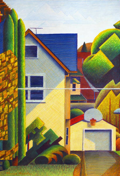 Oil Pastels Drawing - Across The Street From The Painting Studio #2 by Bruce Bodden