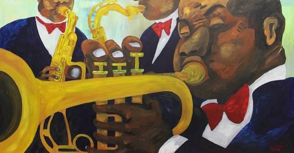 Sax Painting - Acrylic Msc 246 by Mario Sergio Calzi