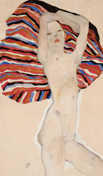 Gown Painting - Act Against Colored Material by Egon Schiele