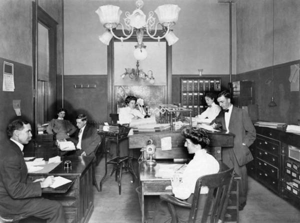 Wall Art - Photograph - Active Office Interior by Underwood Archives