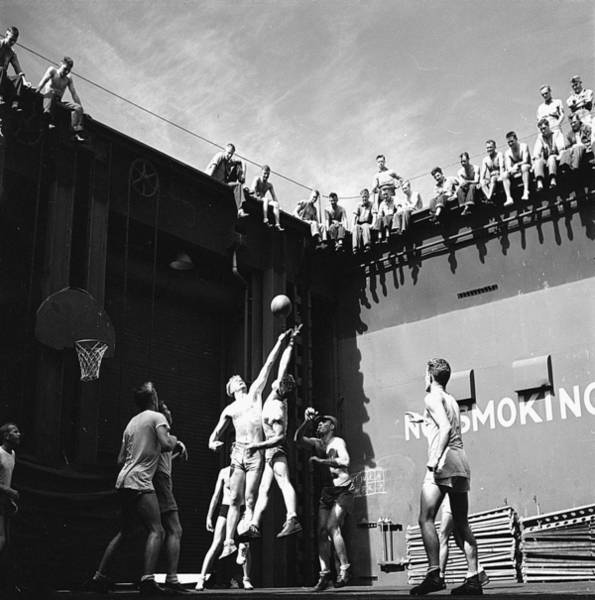 Painting - Activities Aboard Uss Monterey Cvl-26. Navy Pilots In The Forward Elevator Well Playing Basketball by Celestial Images