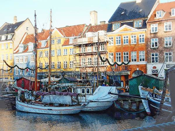 Kopenhagen Photograph - Activity On Nyhavn Harbour by Dorothy Berry-Lound