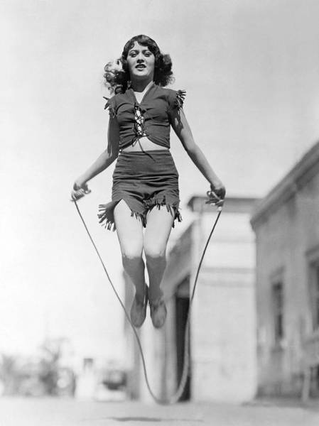 Wall Art - Photograph - Actress Jumping Rope by Underwood Archives