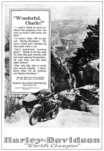 Photograph - Ad: Harley-davidson, 1921 by Granger