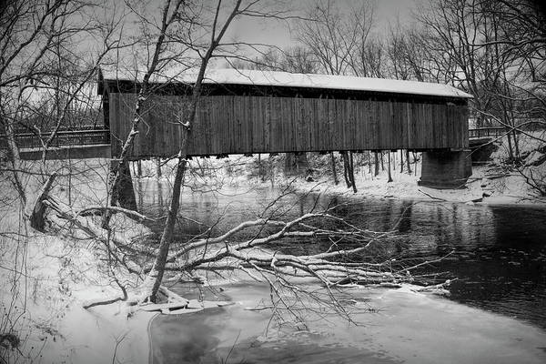 Photograph - Ada Covered Bridge In Winter by Randall Nyhof