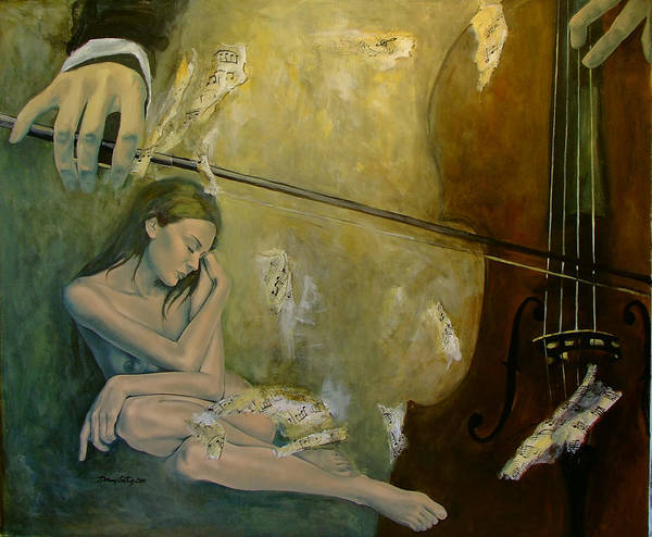Cello Wall Art - Painting - Adagio  Sentimental Confusion by Dorina  Costras