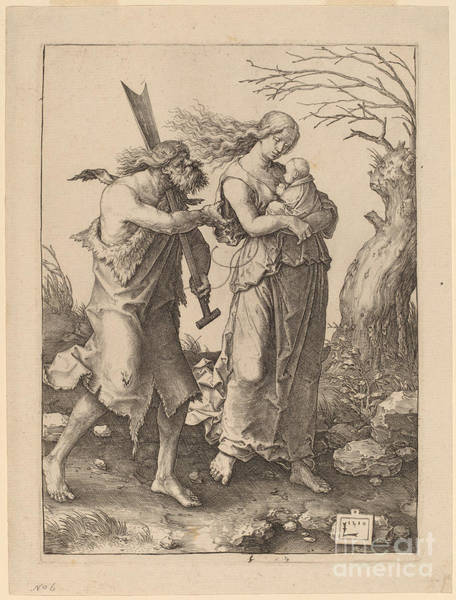 Wall Art - Drawing - Adam And Eve After Their Expulsion From Paradise by Lucas Van Leyden