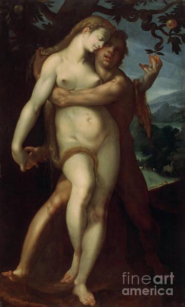Seductive Painting - Adam And Eve by Bartholomaeus Spranger